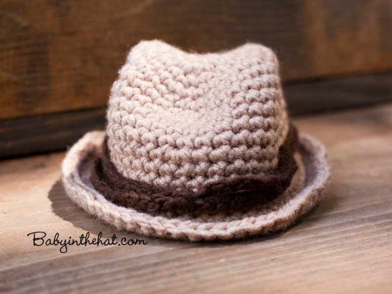 Cowboy Hat Crochet  Newborn Photo Prop 0-12 Months image 0