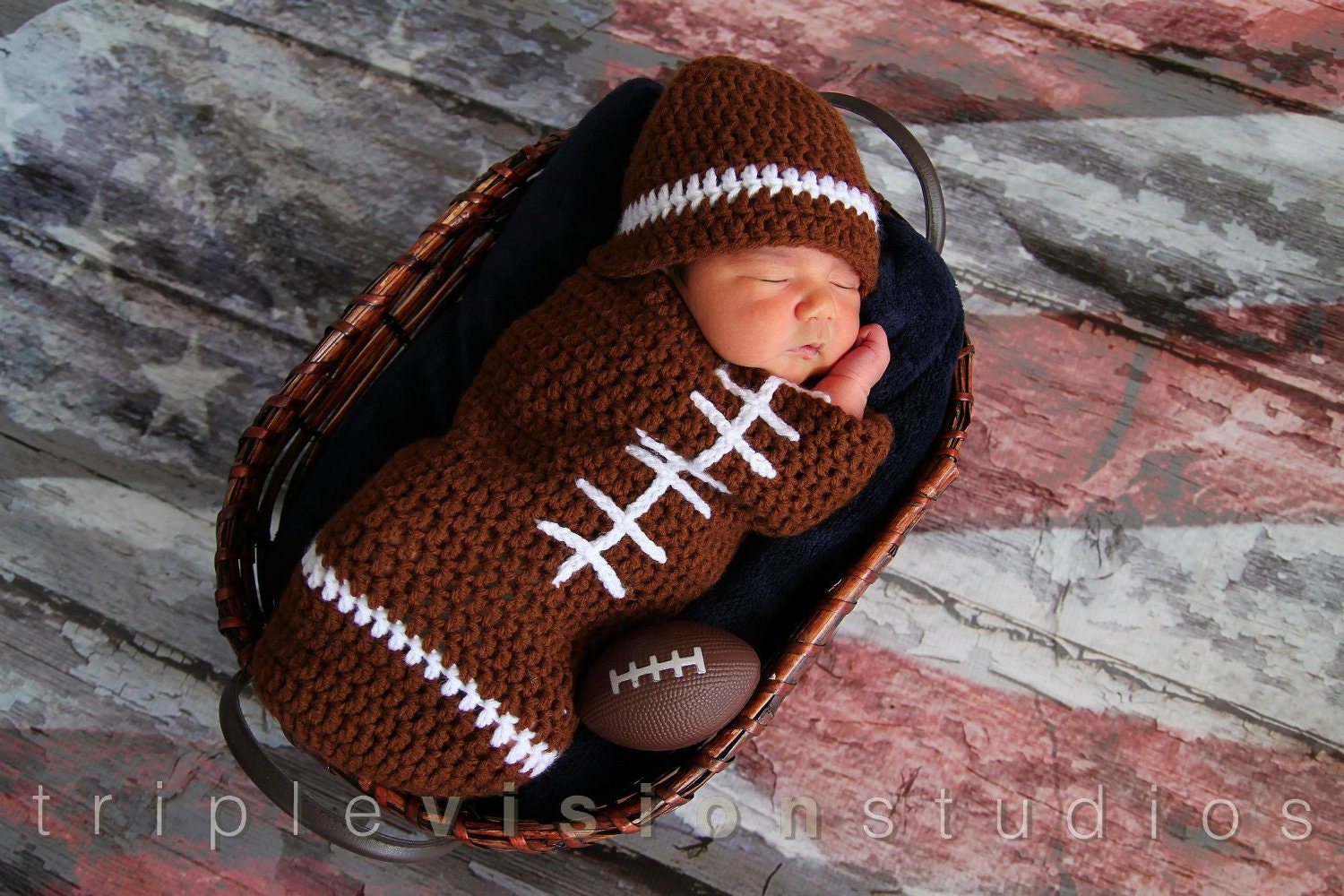 Newborn Football Crochet Hat And Cocoon Photo Prop Set