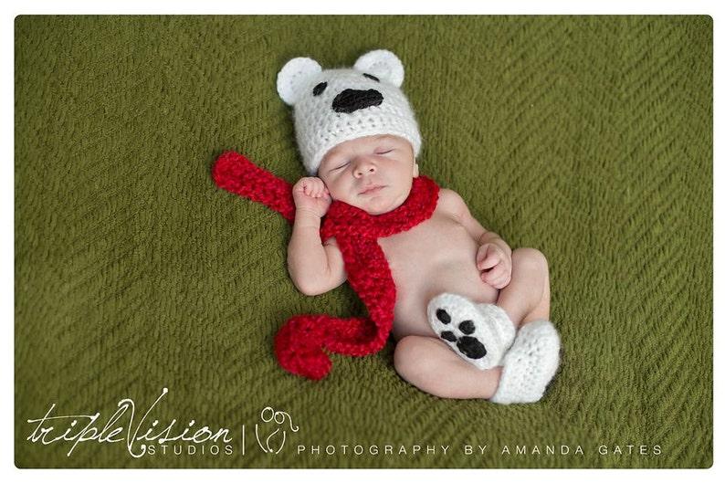 Newborn Polar Bear Hat Scarf and Booties Christmas Holiday image 0