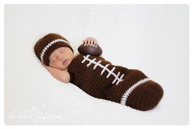 Newborn Football Crochet Hat And Cocoon Photo Prop Set Preemie image 0
