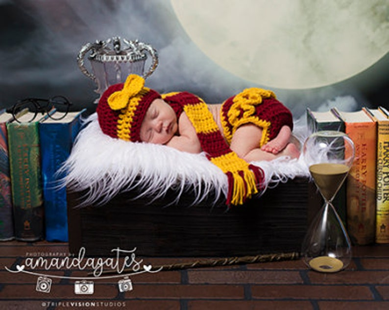 Baby Girls Hat and Diaper Cover Harry Potter Set Photography image 0