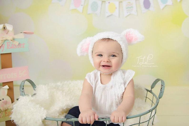 Children's Lamb Bonnet Crochet Hat Easter Spring Photo image 0