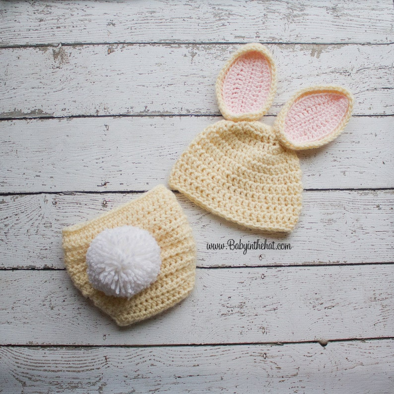 RTS Bunny Hat and Diaper Cover Set Cream Pink Stand Up Ears image 0