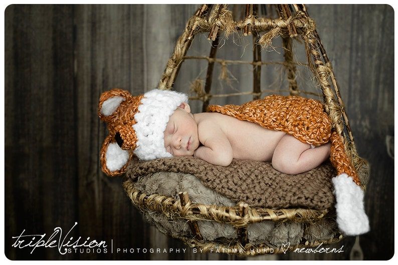 Newborn Little Fox Hat and Cover Cape and Hat Set Crochet image 0