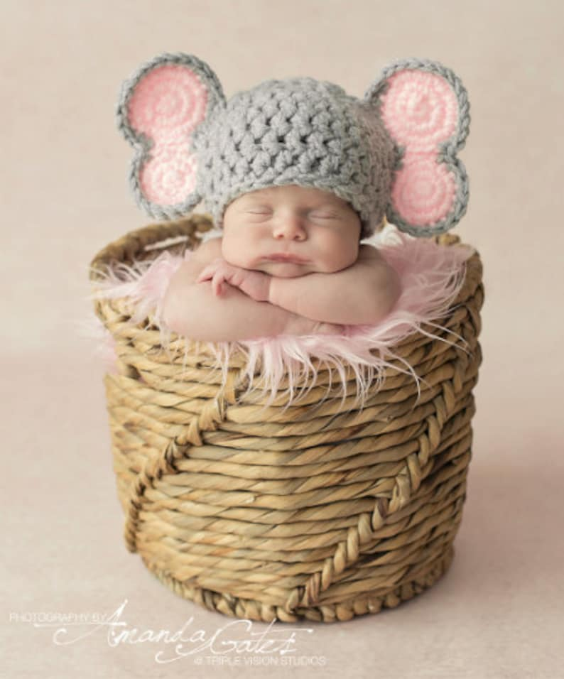 Newborn Elephant Colored Ears Crochet Photo Prop Hat image 0