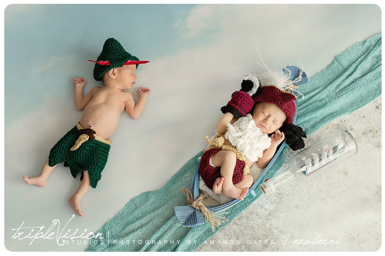 Peter Pan Captain Hook Neverland Hat and Diaper Cover Twin image 0