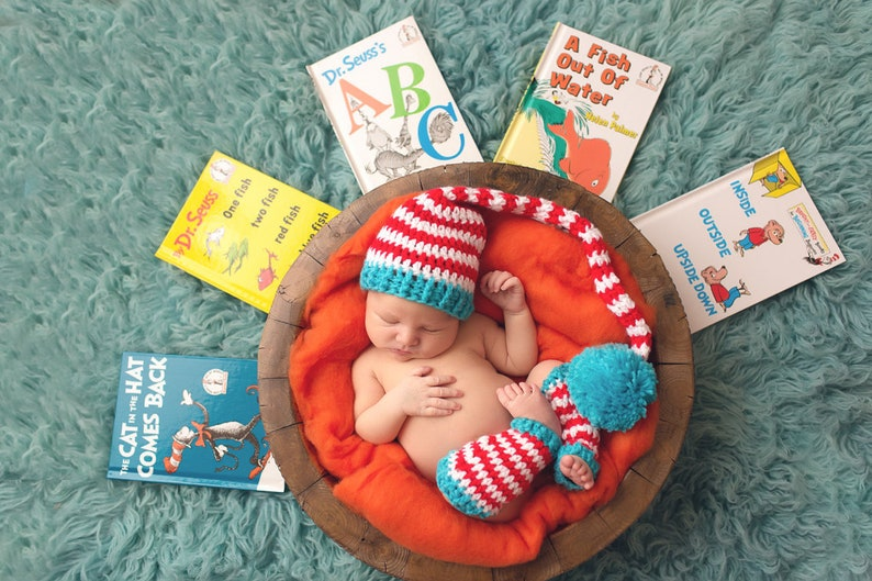 Newborn Pixie Stocking Hat and Crochet Leg Warmers Photo Prop image 0