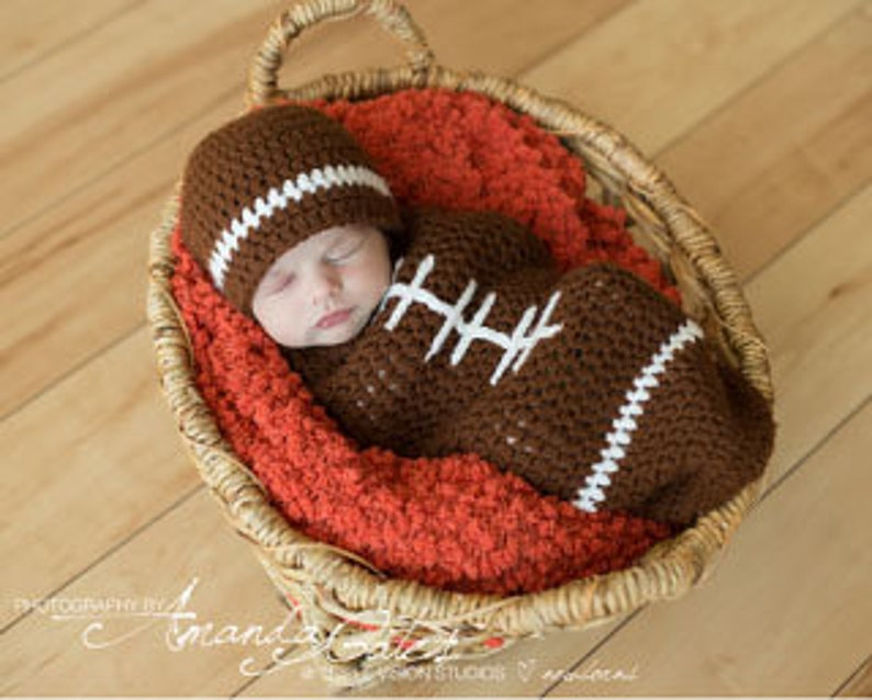Newborn Football Crochet Hat And Cocoon Photo Prop Set image 0