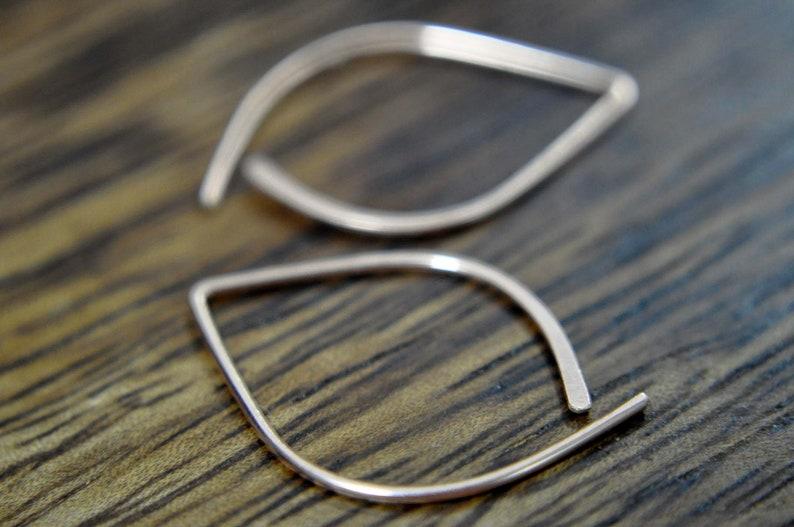 small hoops leaf piercing Leaf Open Hoop Earrings simple gold earrings silver leaf earrings gold leaf earrings 14k rose gold filled