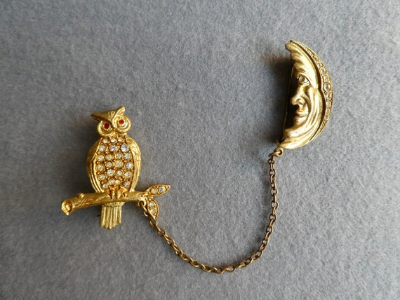 Vintage Moon and Owl Pin Brooch | Sweater Brooch |