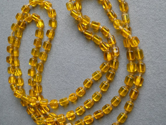 1920s 30s Yellow Glass Beaded Necklace | Long Stra