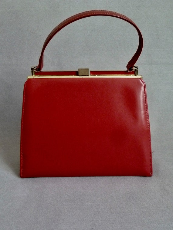 1950s Red Leather Top Handle Bag | Cherry Red Vint