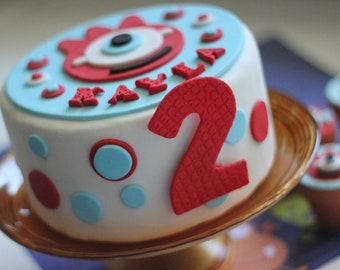 Cute Monster Fondant Cake Topper - This Set Perfectly Matches Our Cute Monster Cupcake Toppers