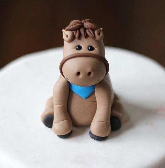 Fondant Kuchen Deckel Skurrilen 3d Fondant Pferd Pony Etsy