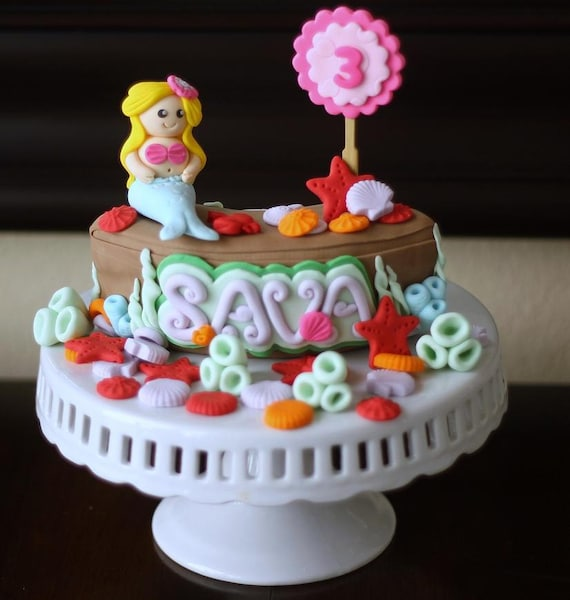 3D Edible Cake Topper Mermaid on a Rock Cake Decoration Birthday Celebration