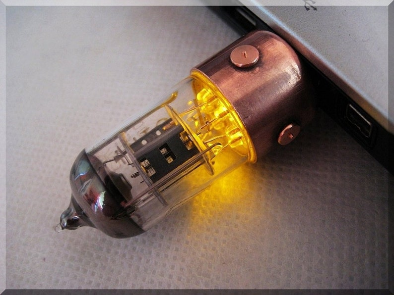 Handmade 8/16/32/64/128/256GB ORANGE Pentode radio Vacuum tube image 0