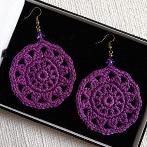 Handmade Jewelry Mandala Cotton Earrings Pink Crochet Dangle Earrings with Pendant Dangle Earrings Off White Handmade Earrings