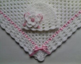 Crochet Baby Blanket and Baby Hat Set Gift Christening Baptism Girl baby white beanie flower pink afghan