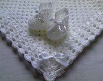 Crochet PATTERN Baby Blanket and Booties Set PDF file #12, Gift Baby Christening Baptism Baby White Afghan, baby shower