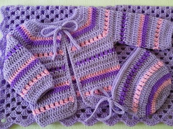 Pink Baby Booties Pink Crochet Baby Blanket Afghan Set Pink Baby Cardigan Baby Hat Blanket Set Pink Beanie Set Purple Baby Hat
