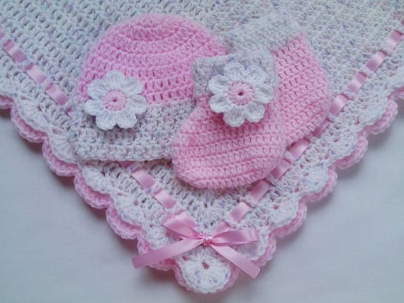 Crochet Baby Blanket and Baby Hat Set Gift Christening Baptism Girl baby beanie pink white afghan