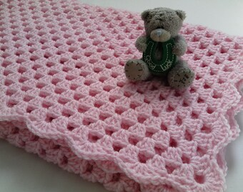 Crochet PATTERN Baby Blanket PDF file pink baby blanket