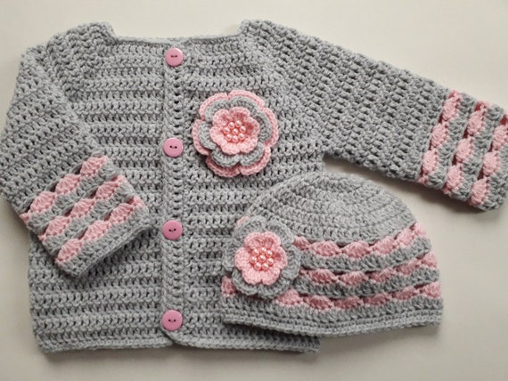 Crochet Pattern Pdf Baby Sweater And Hat Pdf File 45 Baby Etsy