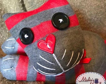 Sock Kitty (red and grey striped)