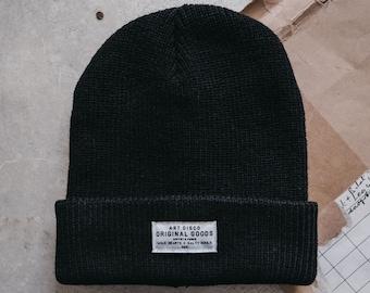 Black 'The Adventurer' Beanie Hat by Art Disco