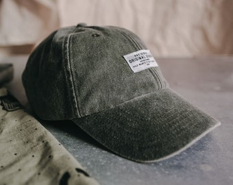 Sunfaded Sage 'The Wanderer' Cotton Strapback Cap by Art Disco
