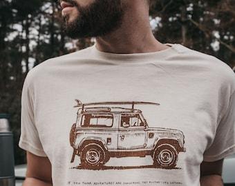 Printed 'Adventure Mobile' Slogan Ecru T-Shirt by Art Disco