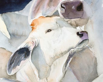 brahman cow canvas wall decor cow wall art farm art canvas print watercolor cow cow painting cow art  cow canvas  abstract cow