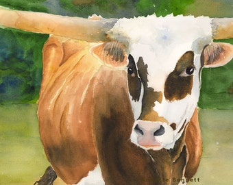 Texas longhorn print original cow painting longhorn painting longhorn art rustic ranch canvas western art farm longhorn cattle art  big huge