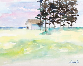 lakeside cabin trees house peaceful landscape silhoute trees canvas print painting