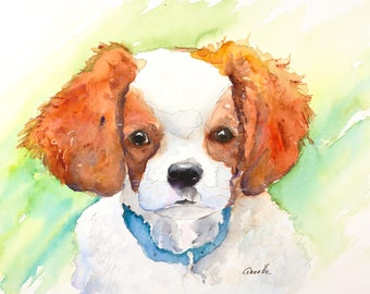 king charles spaniel puppy dog painting portrait pet loss gift pet memorial dog print canvas watercolor painting dog portrait