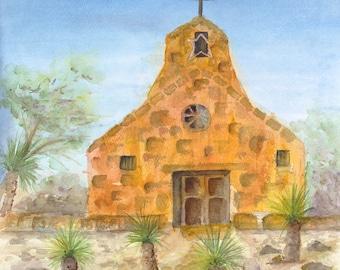mission church adobe new mexico  southwest  painting print watercolor canvas taos, pueblo,santa fe, southwestern spanish mission