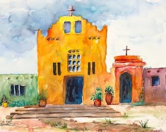 adobe new mexico santa fe southwest mission native painting print watercolor canvas taos, pueblo, native american, village