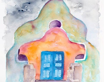 mission church adobe new mexico  southwest colorful native painting print watercolor canvas taos, pueblo,santa fe, southwestern