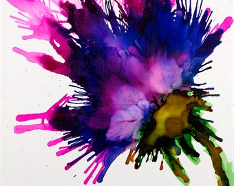flower, alcohol ink, purple bloom, blooming , colorful , abstract flower, contemporary flower, flower wall art flower painting canvas