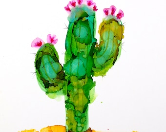 cactus, alcohol ink, green cactus, blooming  cactus, colorful cactus, abstract cactus, contemporary cactus, cactus wall art cactus painting