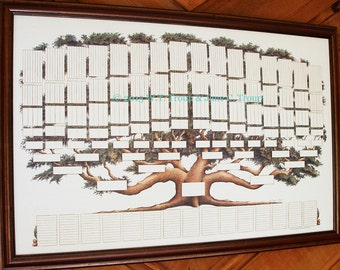 Family Tree Chart 9 Generations, Pedigree Chart, Ancestry, Genealogy, Family Tree Print, Family History, Wall Decor, Pet Pedigree