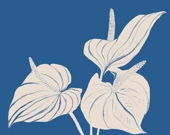 Blue Botanical Vase with Callas - Giclee Print