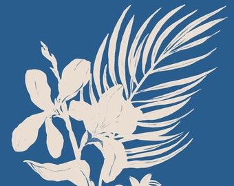 Blue Botanical Vase - Giclee Print