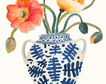 Poppies - Giclee print- Botanical illustration