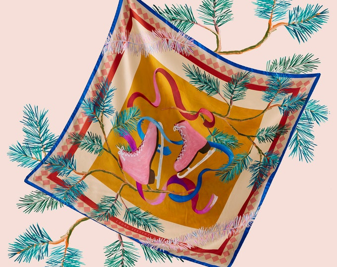 """Winter scarf- """"Ice Skating"""" -100% silk, made in Italy"""