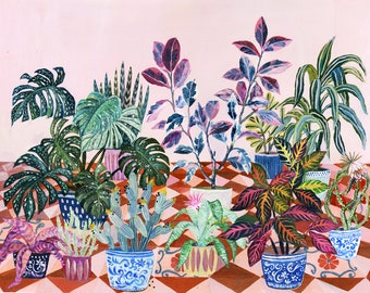 Pink flower garden - illustration - giclee print