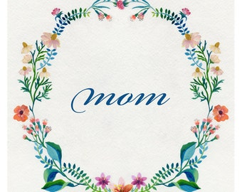 Floral garland - custom name - glicee print