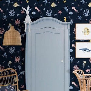 Nautical Blue Marine Removable Wall Decal. Unique Illustrated Wallpaper