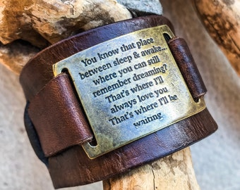 ON SALE I'll Be Waiting, Leather Wristband, Rustic Cuff