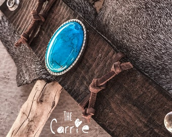 Turquoise Jewelry, Turquoise Cuff, Leather Cuff, Boho Cuff, 'Carrie' Wristband